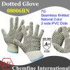 7g Natural Color полиэстер / хлопок трикотажные перчатки с 2-х сторон черный ПВХ точек / EN388: 112X
