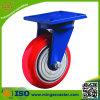 Schwere Nutzlast rote PU-Roheisen-Rad-Fußrolle ohne Bremse