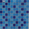 Piscina Round Blue Glass Mosaic Tile in Cina