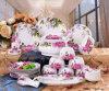 Ensemble de bouilloire en porcelaine en porcelaine Jingdezhen (QW-Pink Rose)
