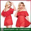 A China vermelha de alta qualidade Lace off lingerie sexy Ombro