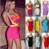 2015 fêz malha o vestido sexy da celebridade do vestido da atadura das mulheres da cinta de espaguete multi/Black/White/Yellow/Orange/Purple/Blue/Red/Colorful (ZZ-20130018)