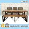 Moderna de acero inoxidable rectangular mesa de comedor y silla