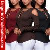 Camiseta profunda del vendaje de la cruz del V-Cuello de tres mujeres de los colores
