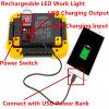 10W LED作業ライト再充電可能なキャンプのランタンIP55は力バンクの携帯用屋外の歩くハイキングの緊急時ランプの日光の白く赤いフラッシュを防水する