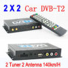 MPEG4/USB/PVR DVB-T22の2チューナー2 Antennas Car DVB-T2 Receiver