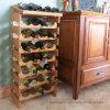 18-Bottle livram a cremalheira de madeira ereta do Shelving do vinho do armazenamento do indicador de assoalho