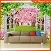 3D Window Views Pintura a óleo de flor de cerejeira para decoração Home