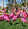 De roze Plastic Ornamenten van het Gazon en van de Tuin van Flamingo's