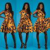 Multi-Дорога печати африканца 3D женщин вскользь плиссировала платье качания, богемское платье типа