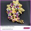 Brooch viola 5294 del foglio del fiore delle pietre dei monili dell'oro di modo