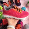 編まれる女性のFlyknit学生はスニーカーの履物の靴を遊ばす
