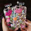 Cadena cristalina del bolso del caso de la cubierta de la botella de perfume de Bling del diamante de lujo para los teléfonos celulares