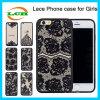 Semitransparente de seda de impresión de encaje negro TPU para el iPhone 7/6 / 6s