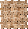 Mattonelle di mosaico di marmo del Brown Basketweave