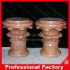 Pulido de la fábrica de columnas de mármol rojo