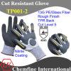 13G PE/Стекловолокно вязаные рукавицы с нитриловые песчаного покрытия и TPR назад/ EN388: 4543
