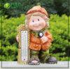 Colheita de resina Girl Garden Ornament com termómetro (NF14103)