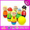 2015 het Grappige Houten Vastgestelde Stuk speelgoed van de Bal van het Kegelen, de Leuke Kleurrijke Reeks van het Kegelen van het Stuk speelgoed, het Mini Mooie Houten Speelgoed In het groot W01b010 van het Kegelen van het Stuk speelgoed