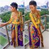 La haute profonde sexy de collet du V des femmes a fendu de maxi robes ethniques africaines Clubwear de Dashiki longtemps