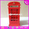 Batería de moneda guarra grande de madera de la nueva del diseño de teléfono dimensión de una variable roja de la cabina W02A265