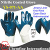 Джерси Anti-Microbial вещевого ящика с голубой нитриловые покрытие и открытая сзади и крепкие запястья/ EN388: 4221 (YS-071-AA)