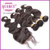 Pacotes peruanos livres do cabelo do Virgin da divisão 100% com fechamentos do laço