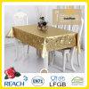 Mantel de oro y realzado del PVC del metal del PVC en Rolls para la boda