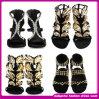 2014 sandálias de cristal luxuosas da senhora salto elevado do ouro, sapatas de vestido (QW129)