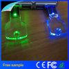Aandrijving van de Flits USB van het Metaal van het Kristal van het LEIDENE de Lichte Embleem van de Gravure Zeer belangrijke 4GB
