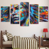 5部分HDプリント多彩な毛図女性の表面ポスターをおよびプリント塗る壁のバックラムキャンバスの芸術のホーム装飾