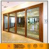 Алюминиевая стеклянная раздвижная дверь (деревянный тип зерна)