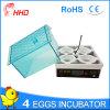 Incubator van het Ei van de Kip van 4 Eieren van Hhd de Nieuwe voor Verkoop yz9-4