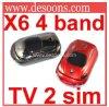 Auto-Telefon X6 Doppel-SIM Viererkabel-Band-buntes Licht des Fernsehapparat-Telefon-