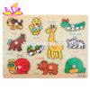 De nouveaux animaux en bois d'éducation des enfants les plus chauds Jigsaw Board avec boutons W14M107
