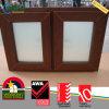 Design moderno UPVC Janela de vidro de cor de madeira com venezianas