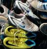 Verwendete eingebrannte Schuhe lederne Schuhe sortierten gut