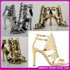 Zapatos plateados negros de oro atractivos del alto talón de la nueva mujer del diseño. (H-5421)