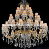 36 Lights Project Crystal Chandelier Lamp with Fabric Shade