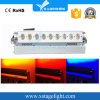 Ce RoHS 9PCS RGBWA UV LED Wall Washer Bar Light