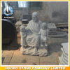 Jesus intagliato mano con la statua dei bambini