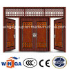 4 Doorleafの大きいサイズの外部の金属の機密保護の鋼鉄ドア(W-SD-05)