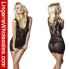 Dame Black Dress Sexy Fishnet Bodystocking