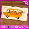 Popular e barato DIY School Bus Shape Wooden Puzzles para crianças W14A143