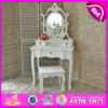 Diseños de madera blanca de la tabla de tocador de la venta caliente en muebles W08h013 del dormitorio