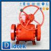 Didtek api 6A a modifié le robinet à tournant sphérique monté par tourillon de corps avec l'engrenage à vis sans fin