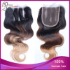 Ombre 1b#/8#/27# Body Wave Brazilian Hair Three Part Lace Closure