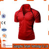 Tshirt vermelho elástico do polo da forma da fábrica de China para homens