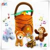Stuk speelgoed van de Baby van de Dieren van de Wildernis van de pluche het Sprekende (5 PCs - de Geluiden van Spelen) met Carrier voor Jonge geitjes