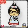 Borracha macia Keychain do PVC da enfermeira dos desenhos animados da alta qualidade